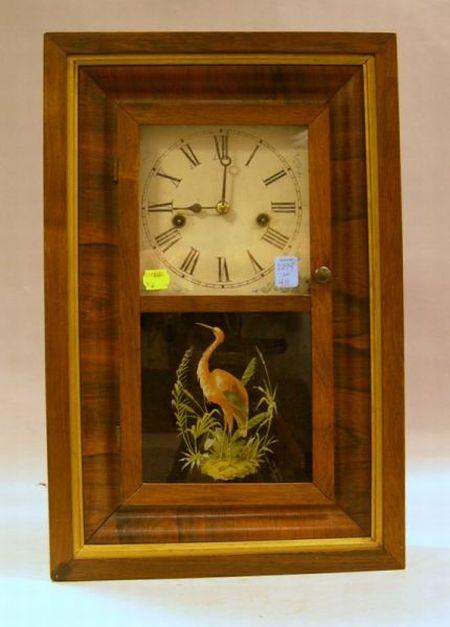 Waterbury Clock Co. Rosewood Veneer and Reverse-Painted Shelf Clock.
