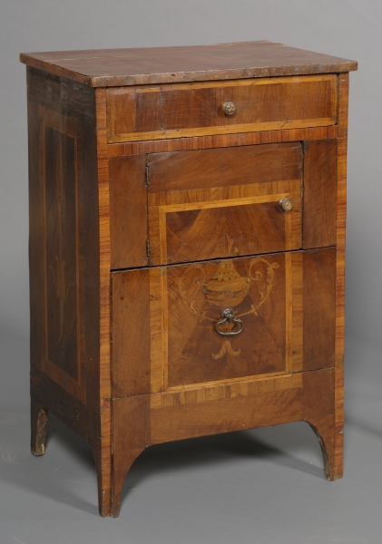 Italian Marble-top and Fruitwood Marquetry Inlaid Walnut Night Table