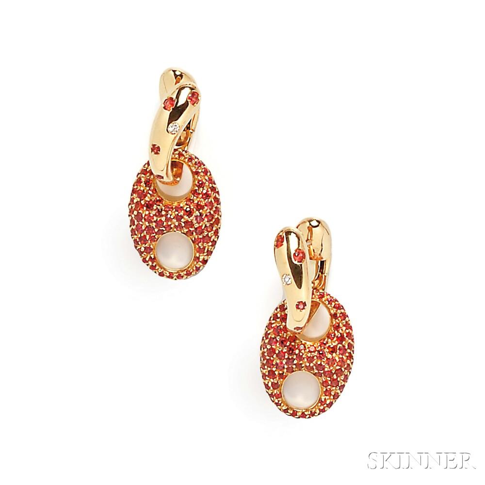18kt Gold and Orange Sapphire Earpendants,  Valente