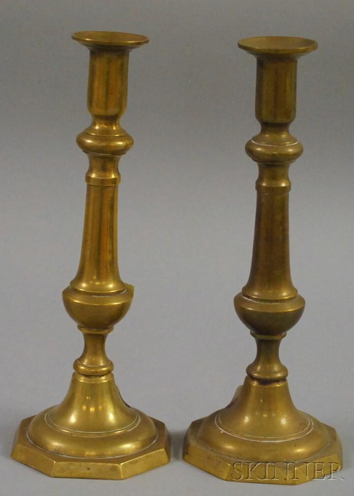 Pair of Brass Push-up Candlesticks