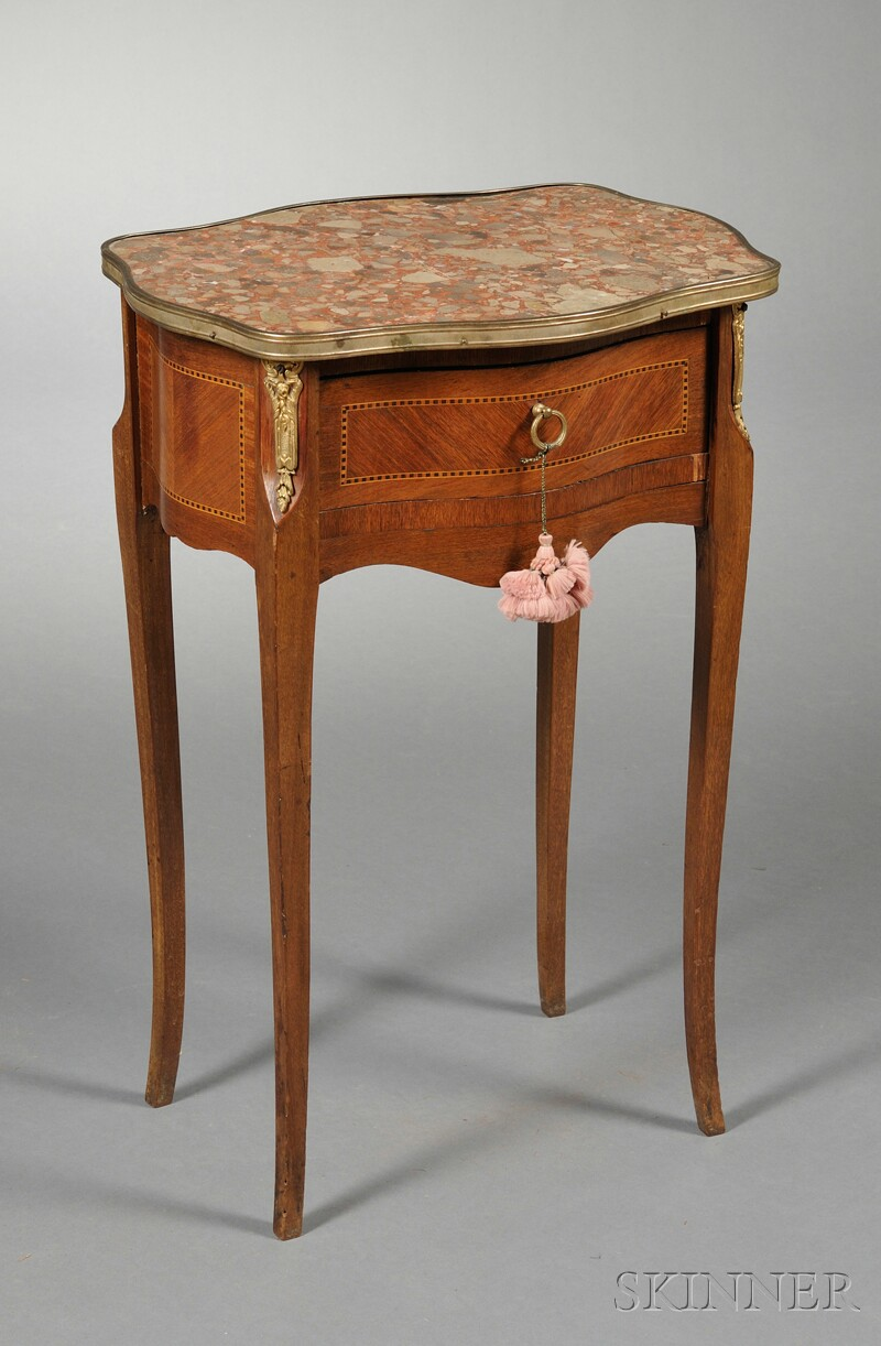 Louis XV Carved Marble-top Side Table