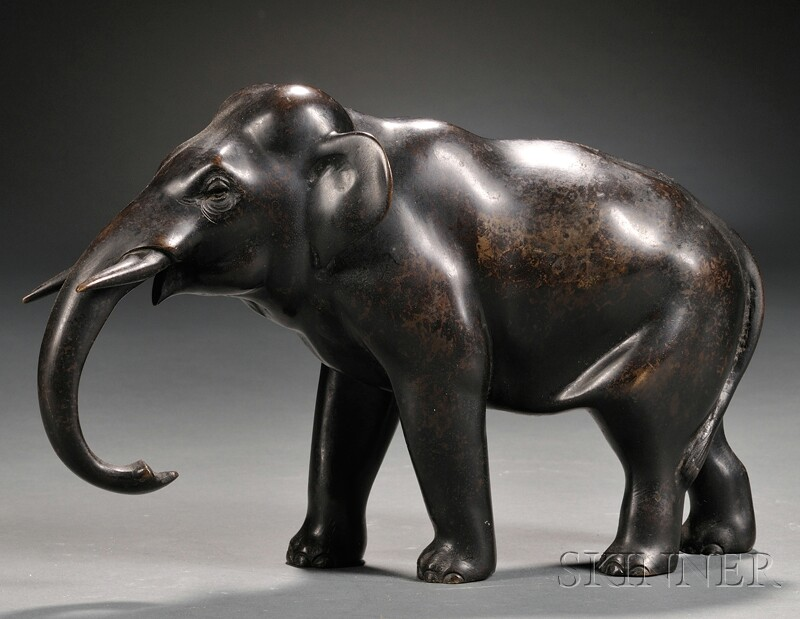 Bronze Figure of a Standing Elephant