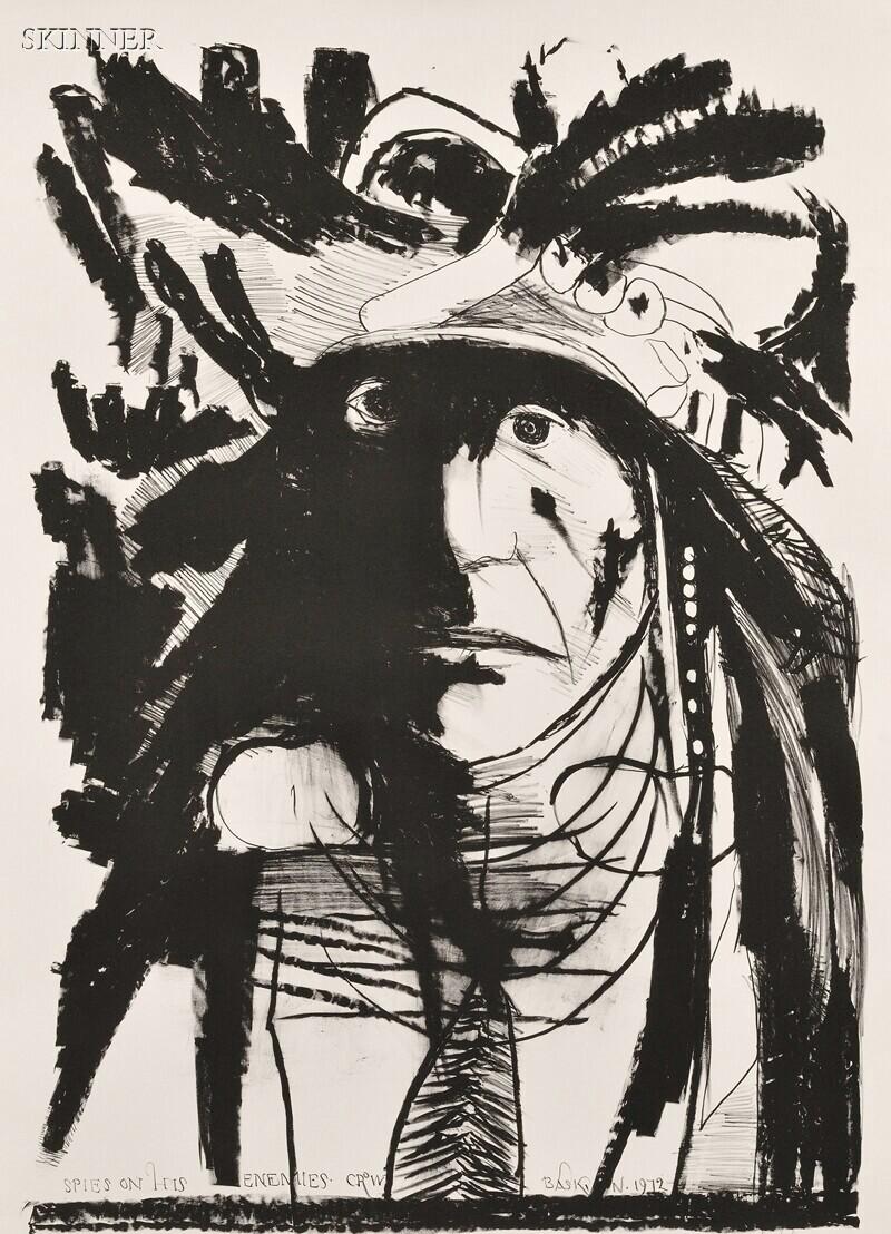 Leonard Baskin (American, 1922-2000)      Three Native American Portraits:  Chief Wets It - Assinnboine [sic]