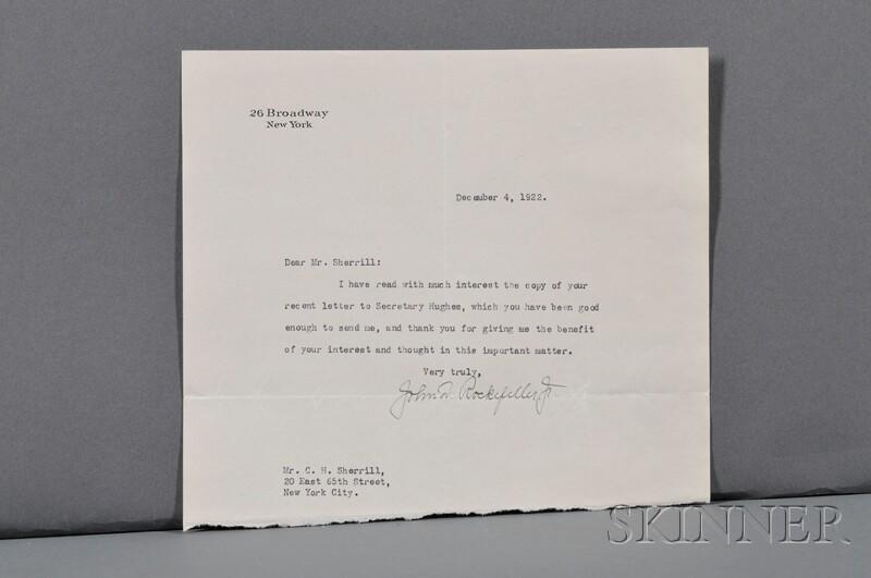 Rockefeller, John D. (1839-1937) Typed Letter Signed, 4 December 1922.