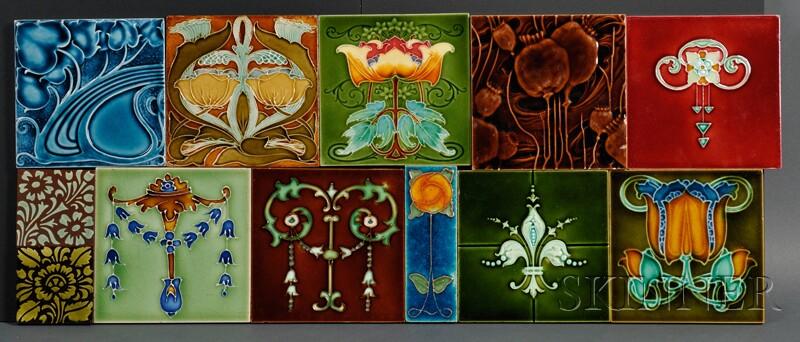 Thirty-five Decorative Tiles