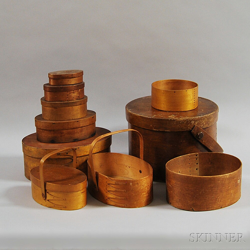 Ten Round and Oval Storage Boxes