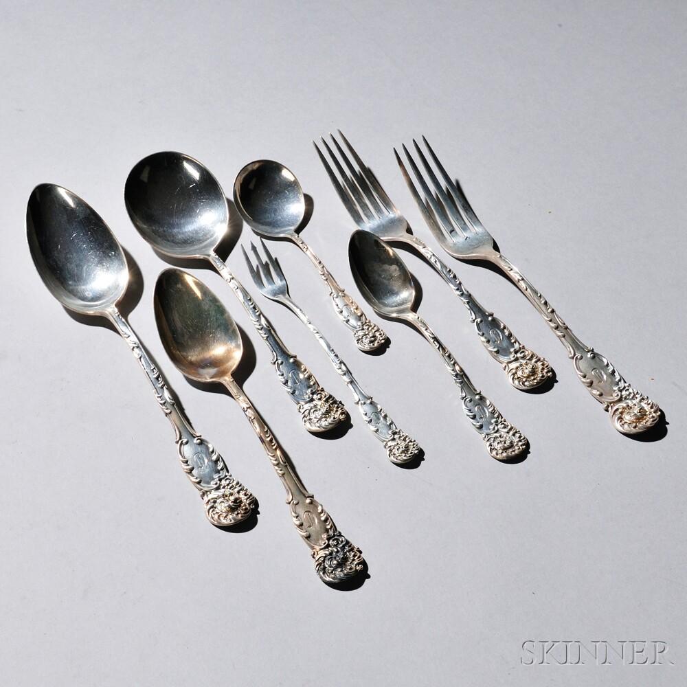 """Seventy-six Pieces of Reed & Barton """"La Reine"""" Pattern Sterling Silver Flatware"""