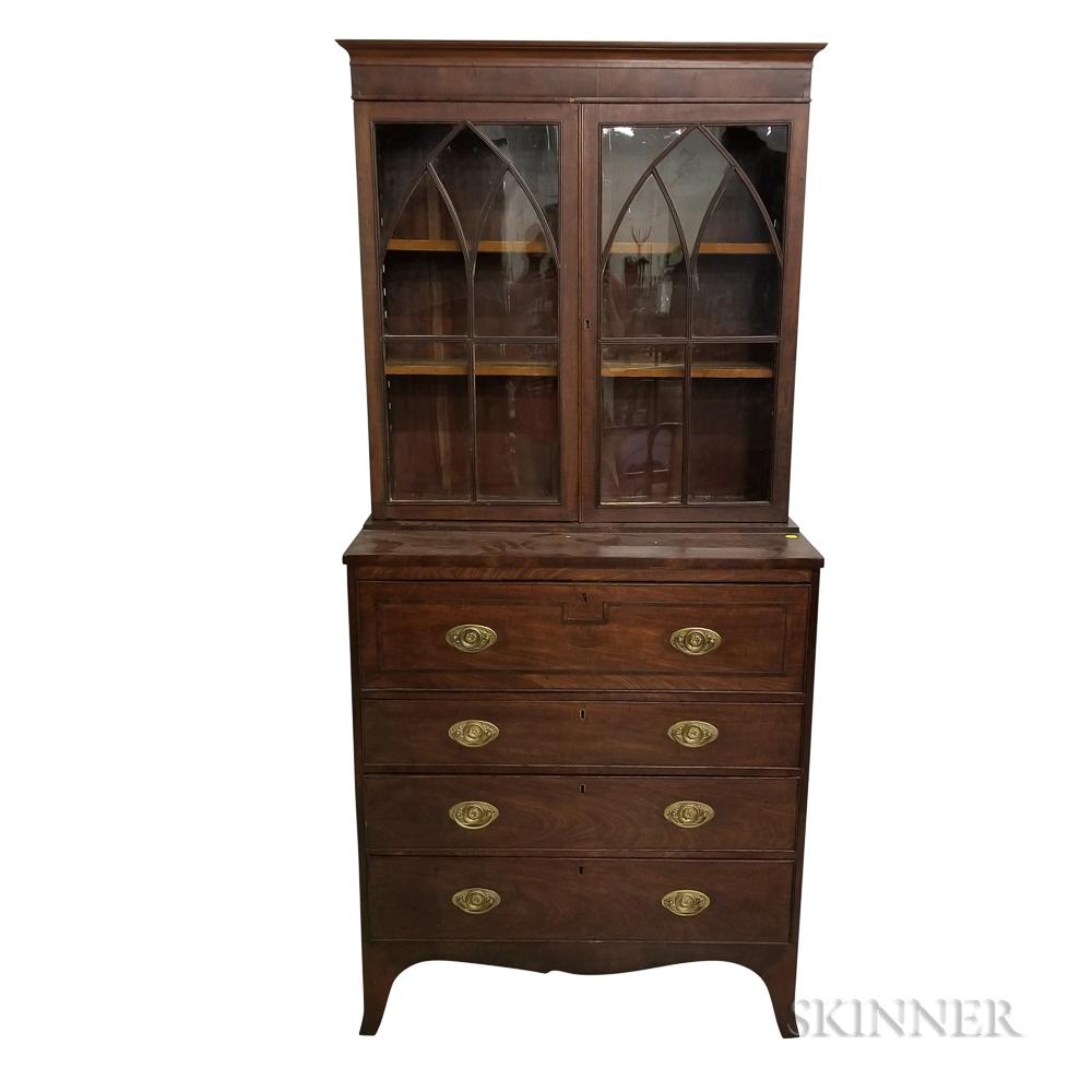 George IV Glazed and Inlaid Mahogany Secretary/Bookcase