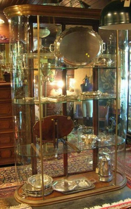 Edwardian Copper, Mahogany, and Glass Oblong Shop Display Cabinet