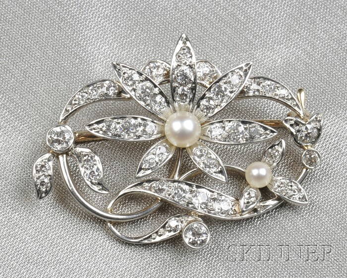 Edwardian Pearl and Diamond Flower Brooch