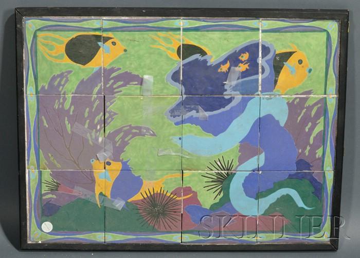 Framed Art Deco Ceramic Tile Picture