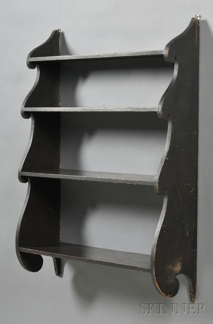 Black-painted Wood Scroll-end Four-tier Wall Shelf