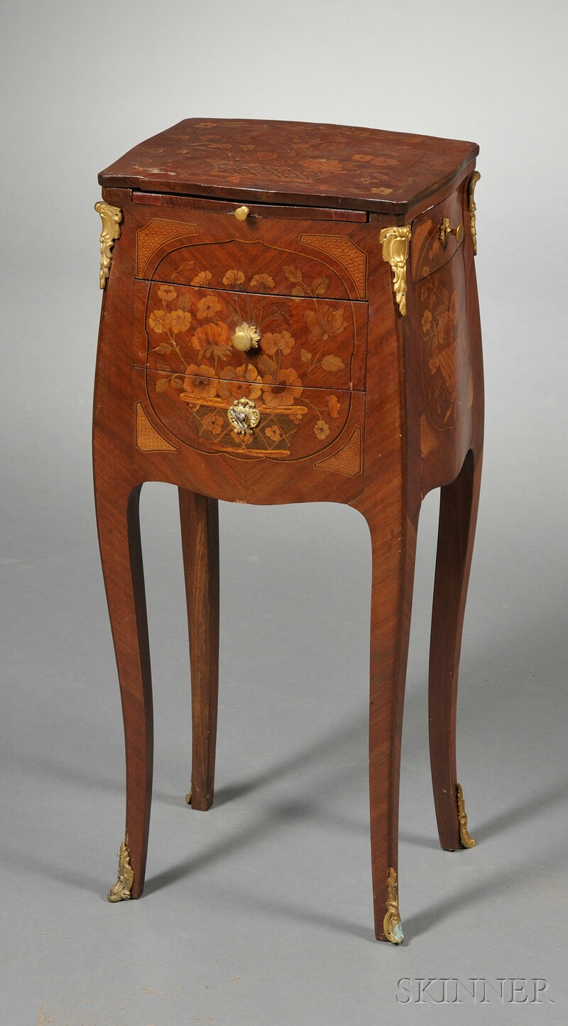 Louis XV-style Carved Marquetry-inlaid Side Table