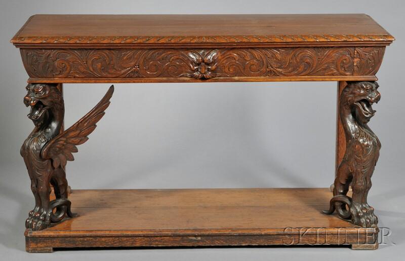 Renaissance Revival Carved Oak Console Table