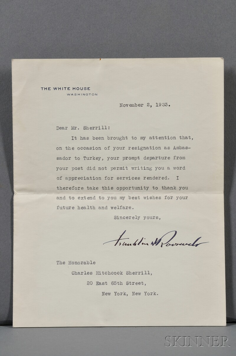 Roosevelt, Franklin Delano (1882-1945) Typed Letter Signed, 2 November 1933.