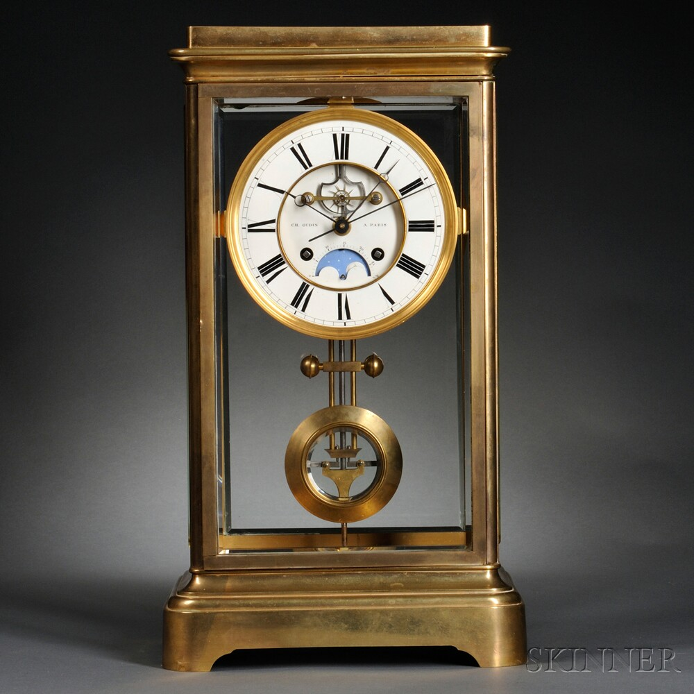 Ch. Oudin Gilt-brass Crystal Regulator with Coup Perdu Escapement