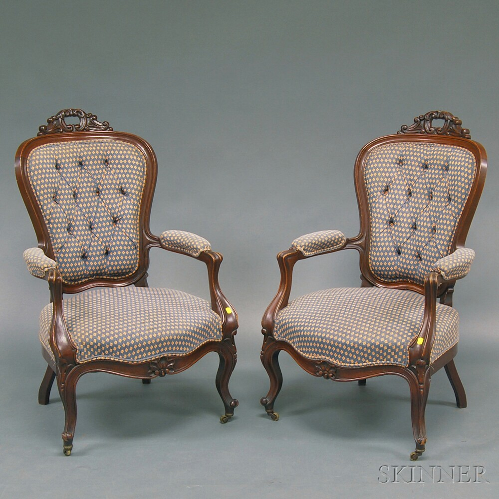 Pair of Rococo Revival Mahogany Carved and Upholstered Armchairs