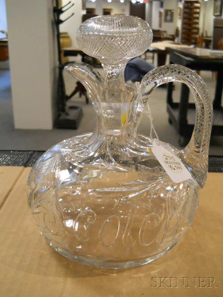 Four American Colorless Cut Glass Whiskey Jugs Sale