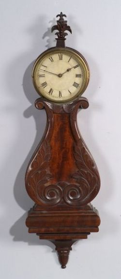 Classical Mahogany Carved Lyre Banjo Timepiece