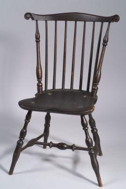 Black Painted Carved Fan-back Windsor Side Chair