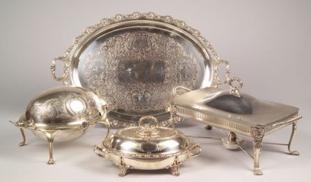 Four Silver Plated Table Serving Articles