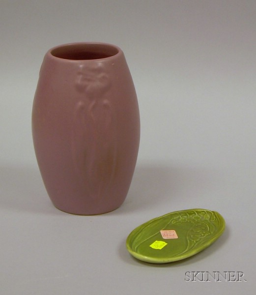Rookwood Pottery Matte Green Glazed Lily of the Valley Pattern Pin Tray and an Art   Pottery Matte Glazed Vase