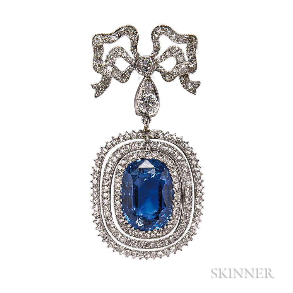 Belle Epoque Platinum, Sapphire, and Diamond Pendant/Brooch