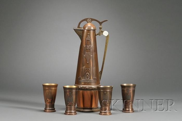 Art Nouveau Pitcher with Four Tumblers