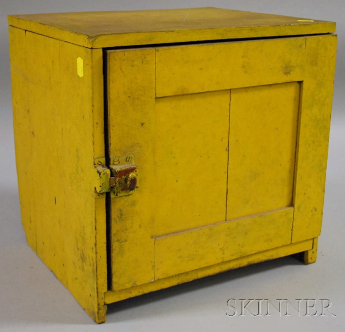 Yellow-painted Wooden Countertop Pie Safe Cabinet