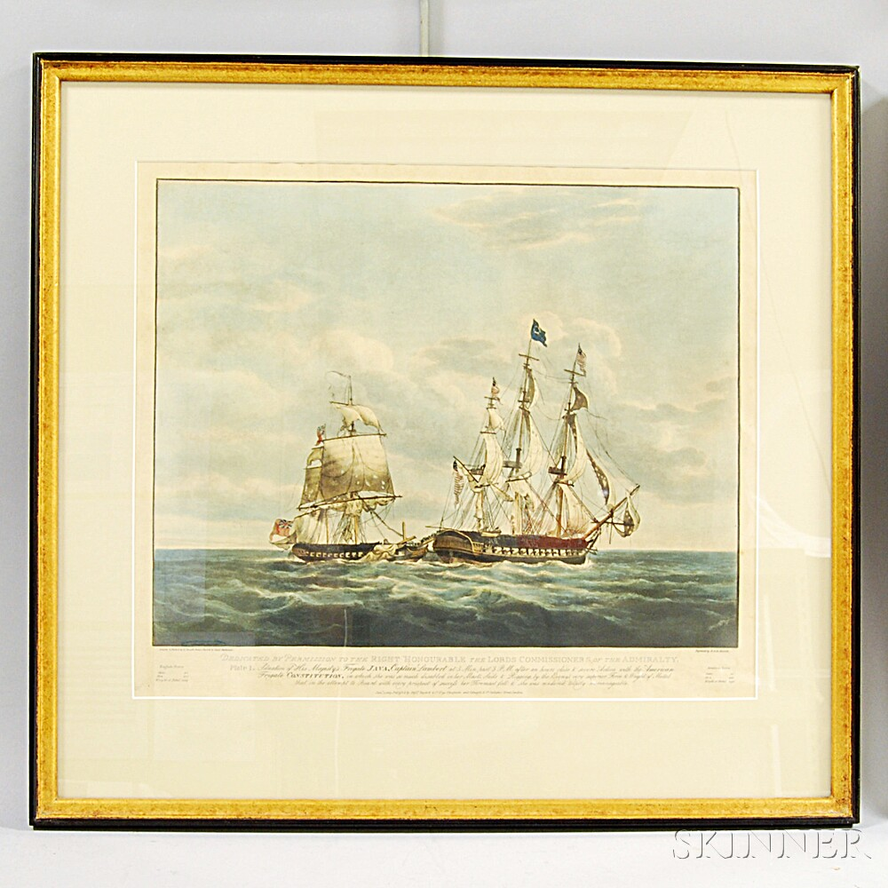 Robert and Daniel Havell (British, 18th/19th Century)  Four Proof Plates of the Engagement between His Majestys Frigate Java and the A