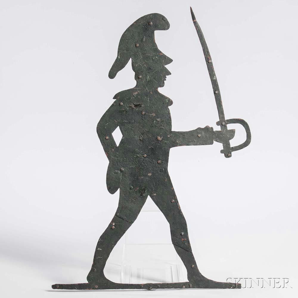 Black-painted Sheet Iron Pulaski/Militia Soldier Weathervane