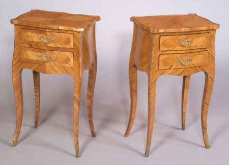 Pair of Louis XV/XVI Style Two Drawer Side Tables