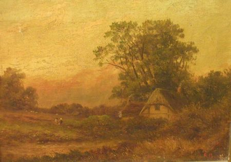 British School, 19th Century  Country Cottage. Signed or inscribed R. Percy l.r.