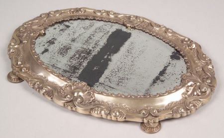 British Rococo-style Silver Plated on Mahogany Mirrored Table Plateau
