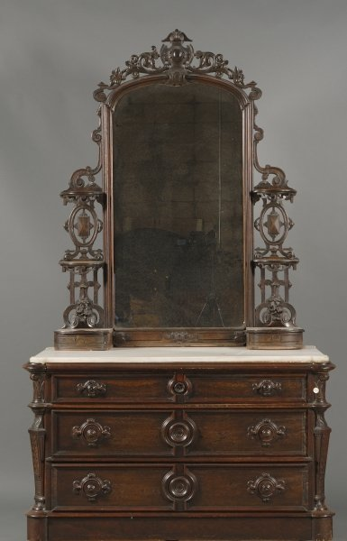Victorian Rosewood and Marble-top Mirrored Bureau