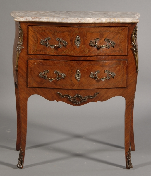 Louis XV Style Marble Top Kingwood and Tulipwood Two-drawer Chest