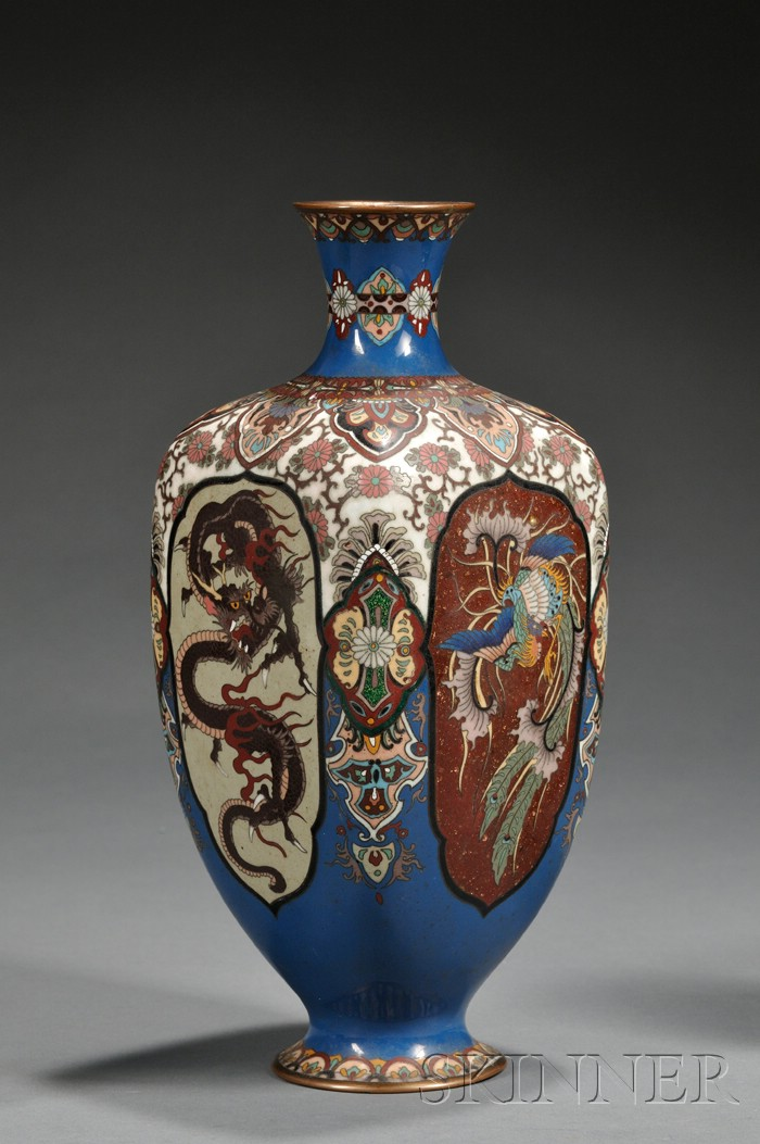 Cloisonne Enameled Square Vase