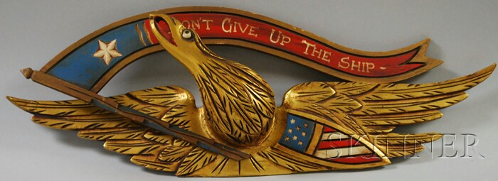 Carved, Gilded, and Painted Wood Bellamy-style Eagle and Shield Plaque