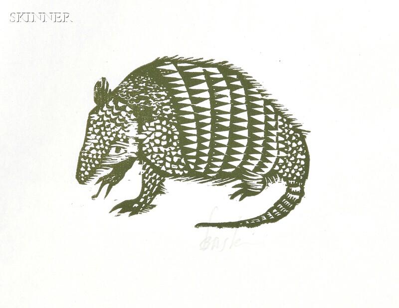 Leonard Baskin (American, 1922-2000)      Five Animal Subjects:  Armadillo