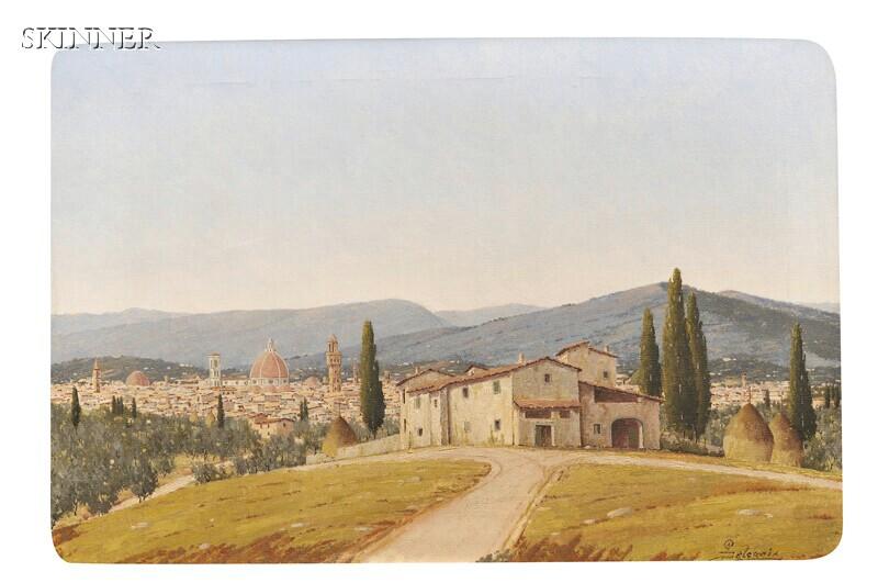 Giacomo Delcroix (Italian, 1894-1972)      Hillside View of Florence