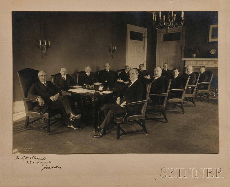 Harding, Warren G. (1865-1923) Photograph of the Cabinet,   Signed by Andrew Mellon (1855-1937).
