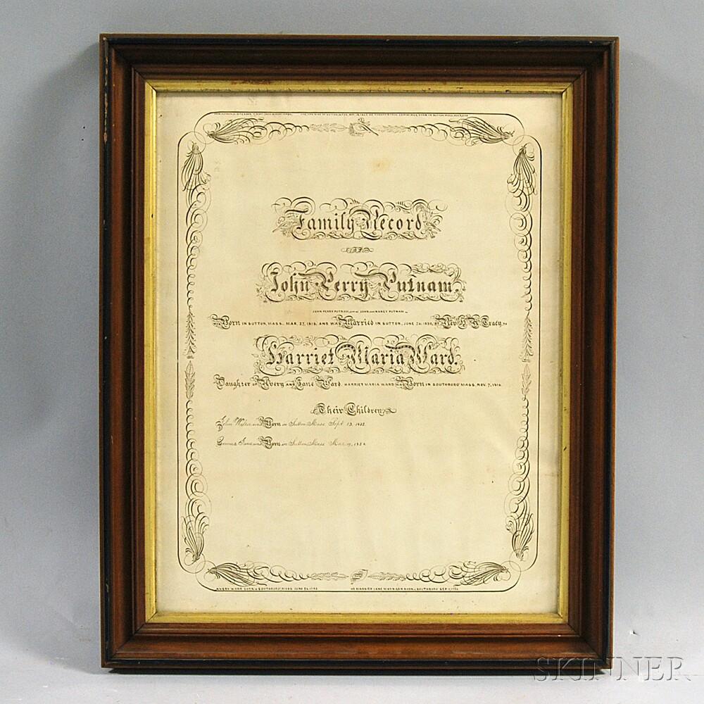 Framed Putnam-Ward Family Record