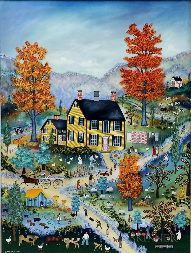 Janet Munro (American, b. 1949)      Autumnal Country Landscape/A Story of Farm Life