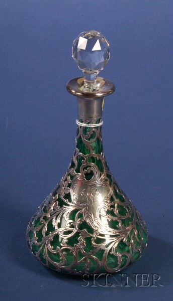 Green Cased Colorless Glass and Alvin Sterling Overlay Decanter