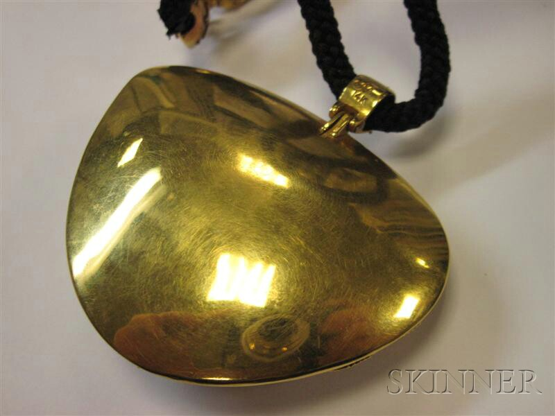 14kt Gold and Enamel Pendant, John Paul Miller