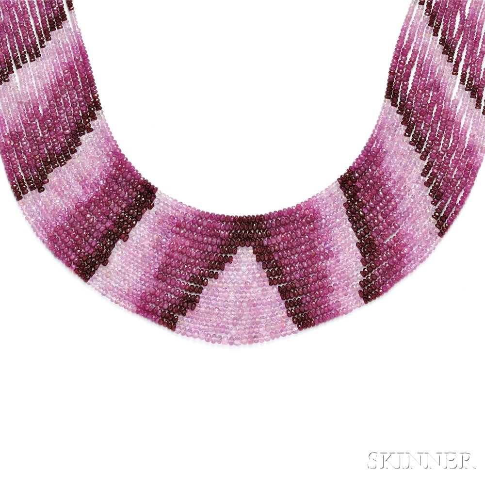 Ruby and Pink Sapphire Bead Necklace