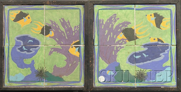 Two Framed Art Deco Ceramic Tile Pictures
