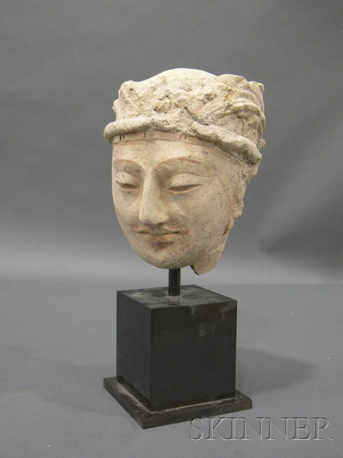 Stucco Head of a Bodhisattva