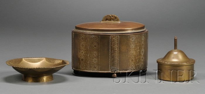 Two Arts & Crafts Covered Boxes and a Footed Dish