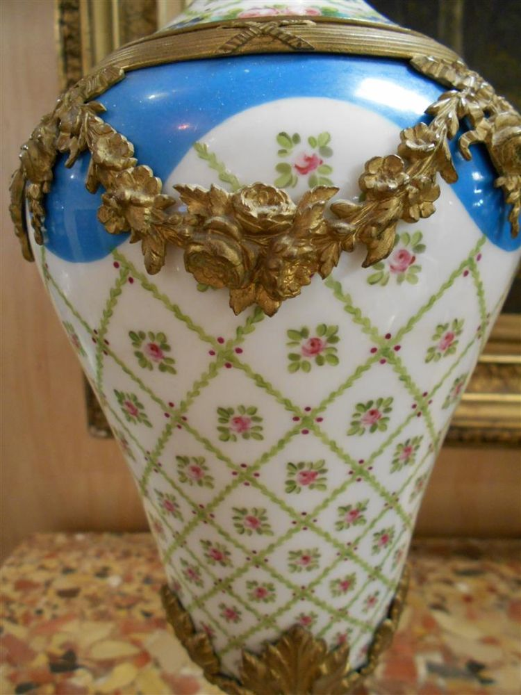 Pair of Bronze-mounted Sevres-type Porcelain Vases and Covers